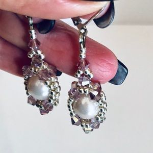 Handmade Lilac Crystal & Pearl Earrings